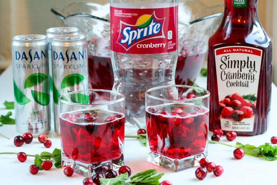 2 cups of festive cranberry holiday punch by the ingredients needed to make it