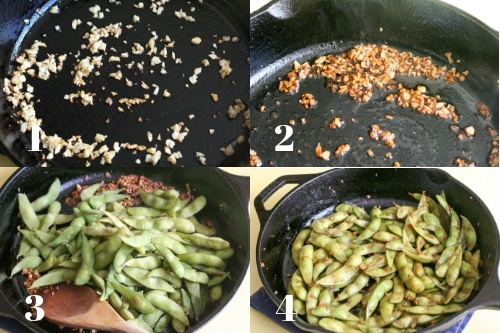collage of step by step process to make garlic soy edamame