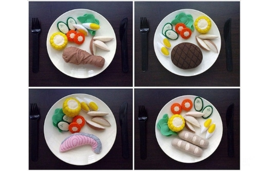 4 plates showing different western felt food
