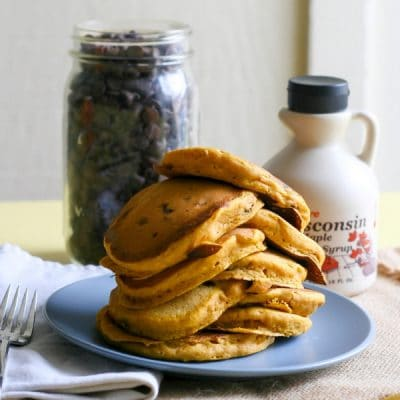 Fluffy Pumpkin Chocolate Chip Pancakes