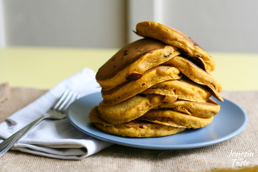 A stack of pumpkin pancakes