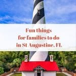 the lighthouse in st augustine florida with a word graphic over it