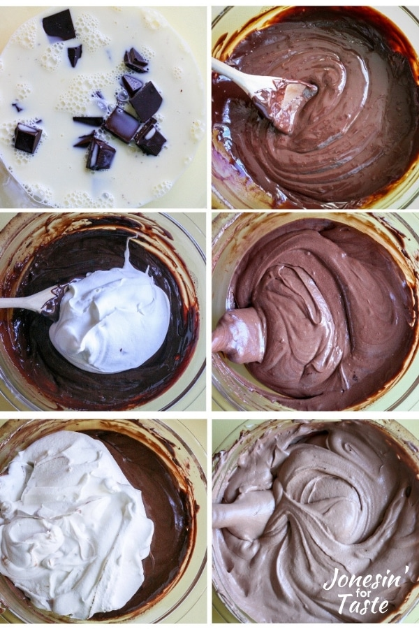 collage showing the steps to making chocolate mousse