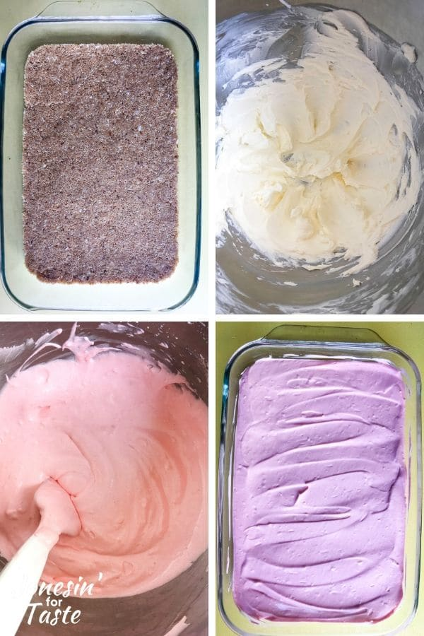 collage showing steps to make guava cheesecake