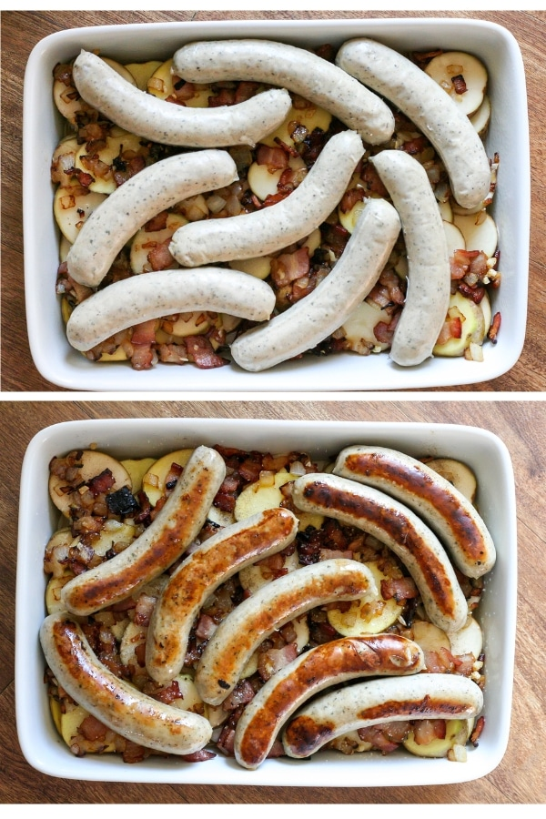 A collage showing the before and after pictures of the casserole dish