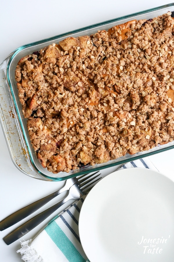 A casserole dish of berry french toast bake