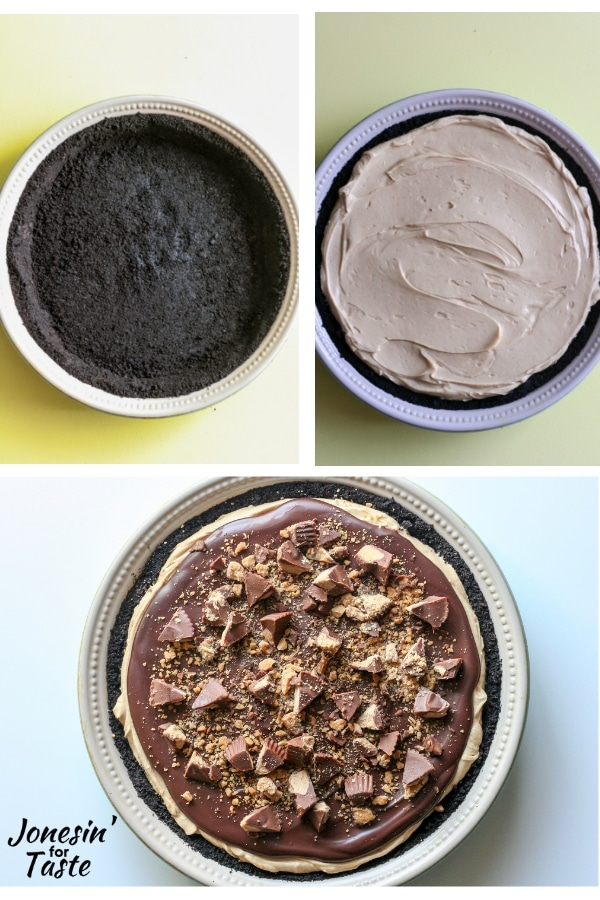 a collage of the steps to make a no bake peanut butter pie