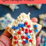 star rice krispie treat decorated with red white and blue star sprinkles