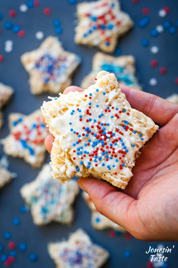 star rice krispie treat decorated with red white and blue non pariells