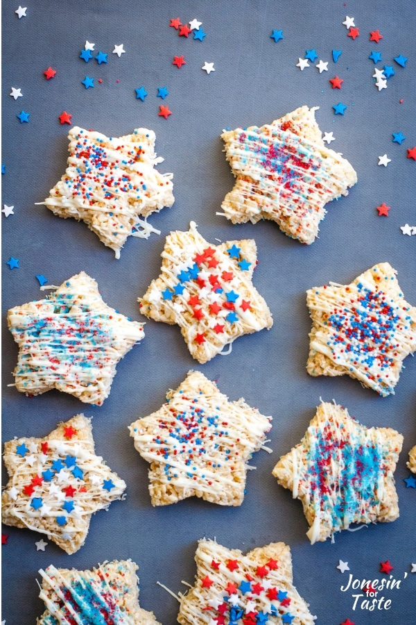 Variously decorated star rice krispie treats