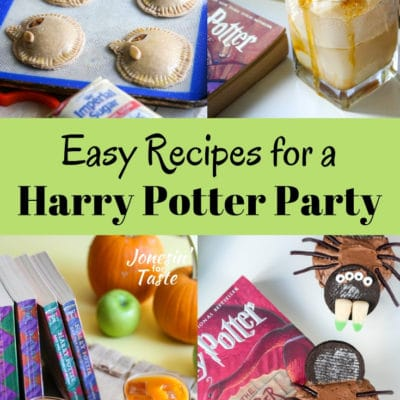 collage showing different harry potter themed recipes