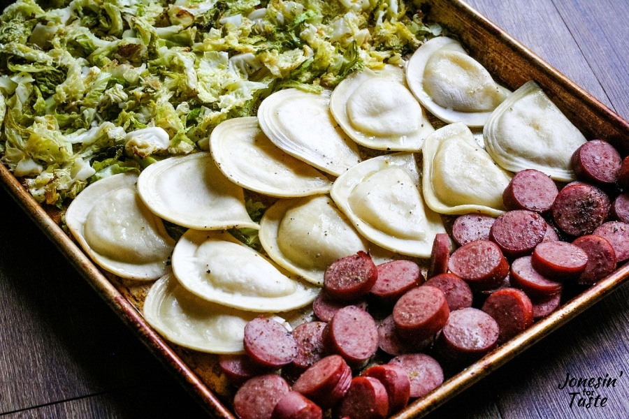 cooked pierogies and kielbasa