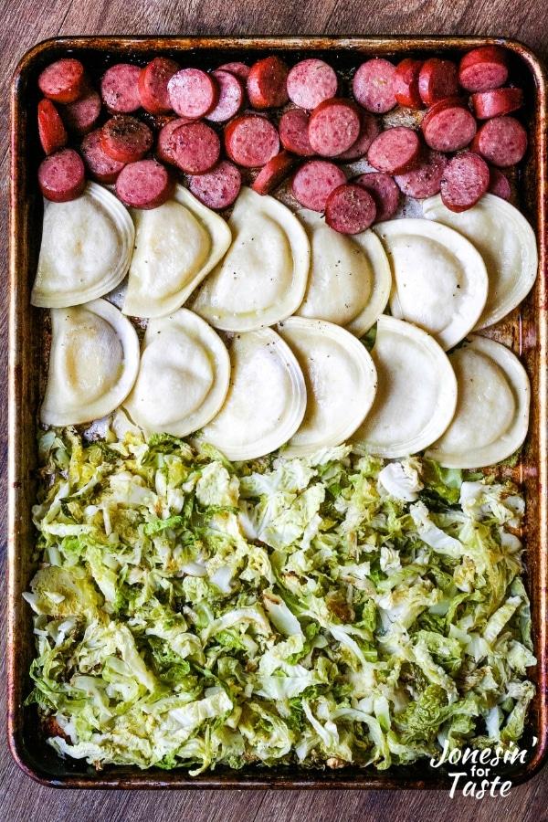 Sheet Pan Kielbasa and Pierogies with Cabbage