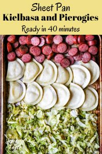 rows of kielbasa, pierogies, and roasted cabbage