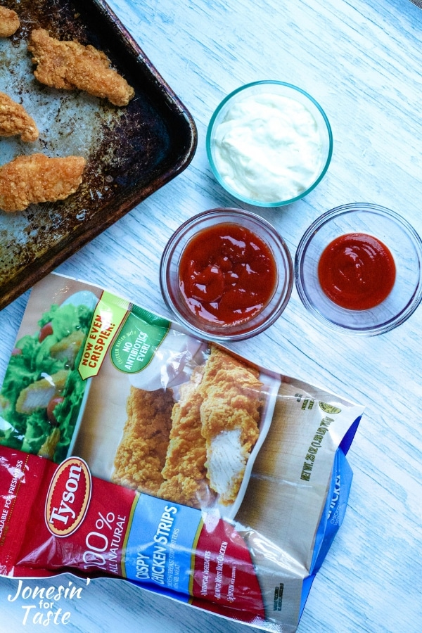 a bag of chicken and fry sauce ingredients