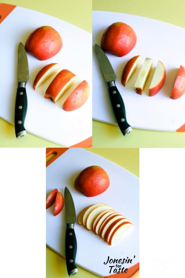 step by step photo on how to easily slice an apple