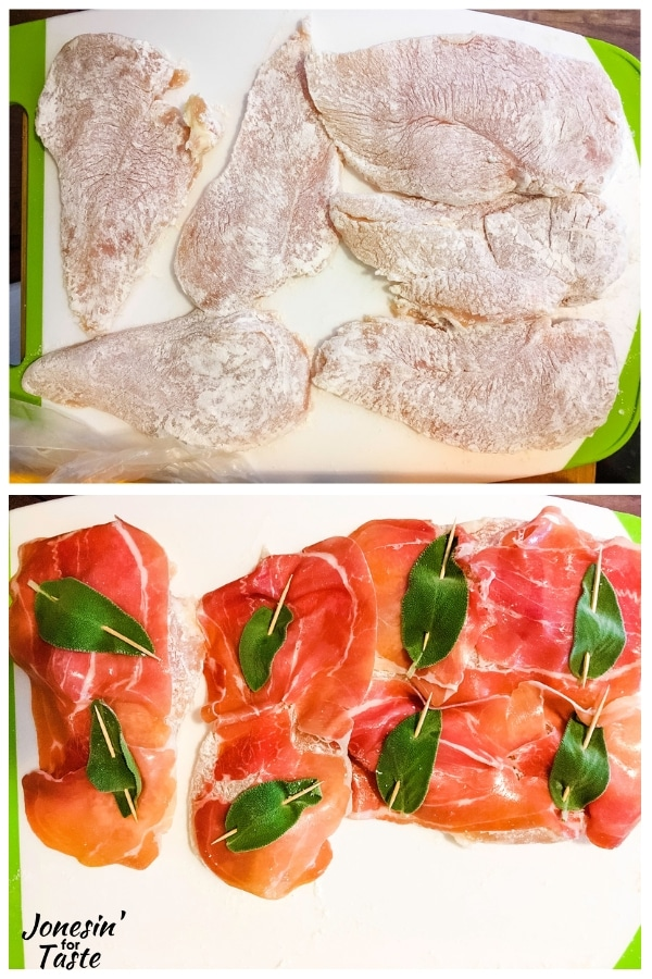 collage of flour dredged chicken on top and with the prosciutto and sage