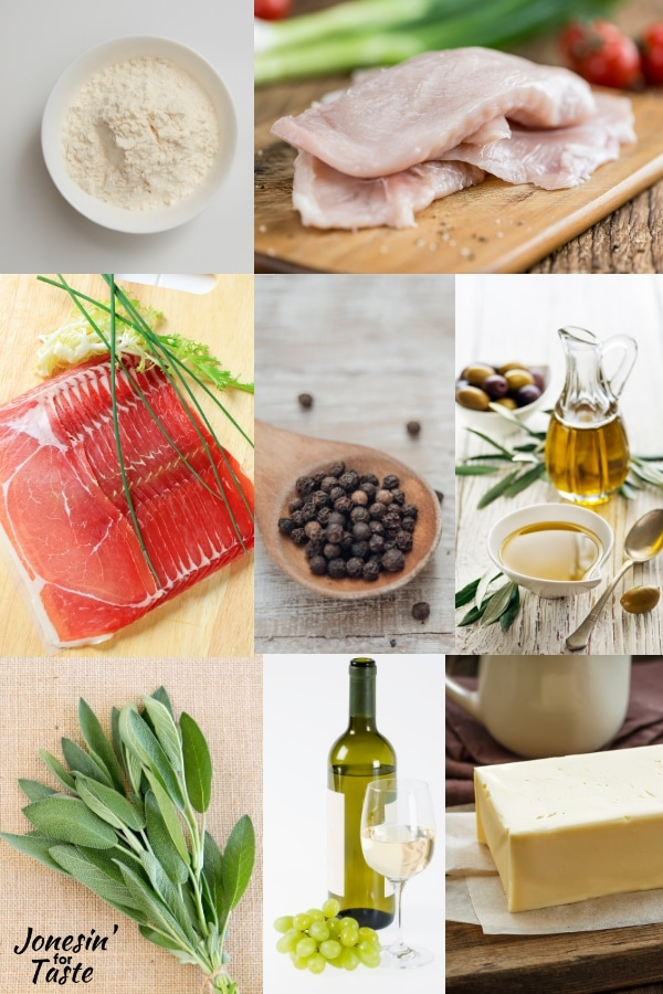 collage showing ingredients needed to make chicken saltimbocca
