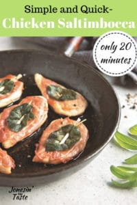 chicken saltimbocca in a black pan on a white counter