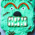 A Frankenstein cupcake cake on a cookie sheet