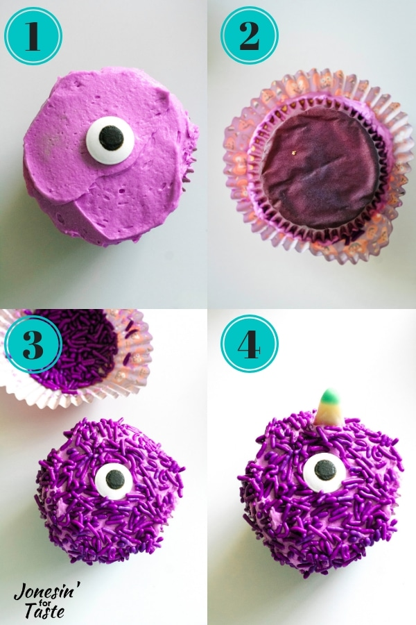 showing the steps to making purple people eater cupcakes