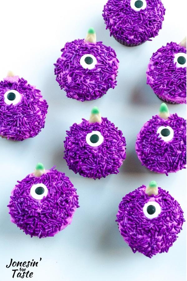 Purple People Eater Halloween Cupcakes