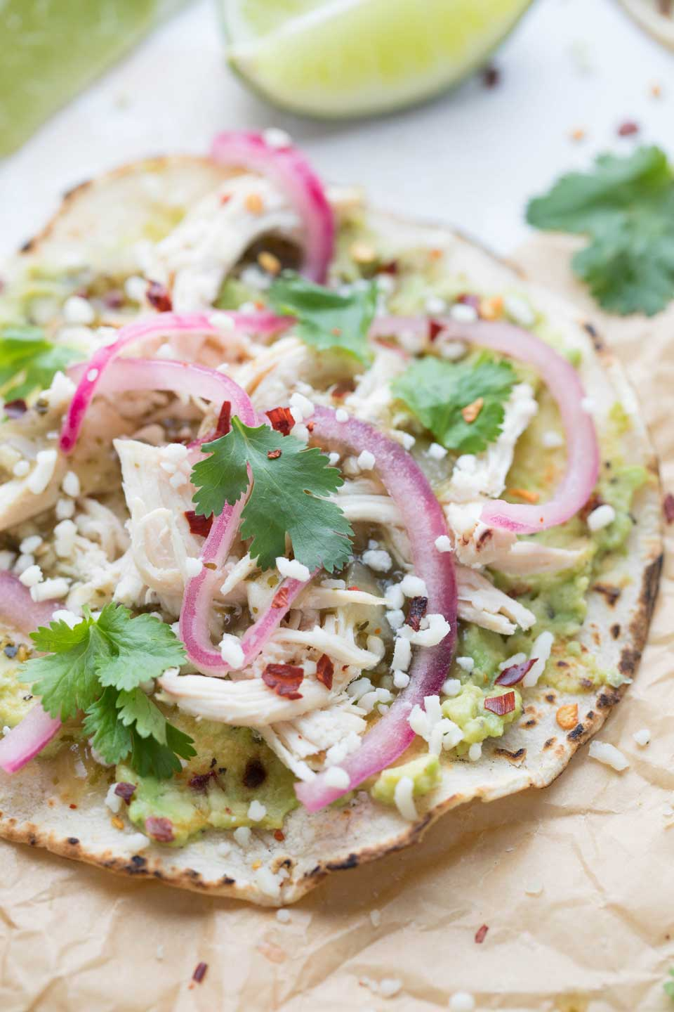 Quick Rotisserie Chicken Tacos with Smashed Avocado - Two Healthy Kitchens