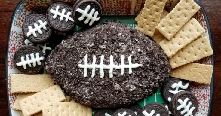 Cookies and Cream Football Cheese Ball