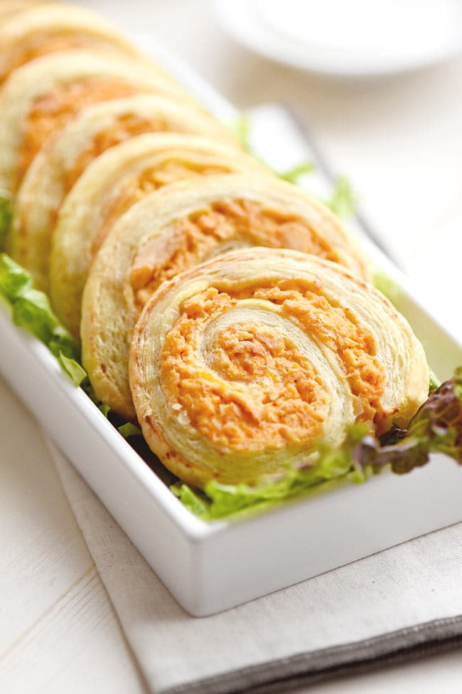 Buffalo Chicken Puff Pastry Pinwheels
