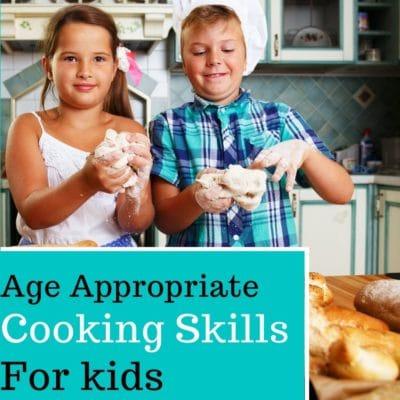 Two kids making bread