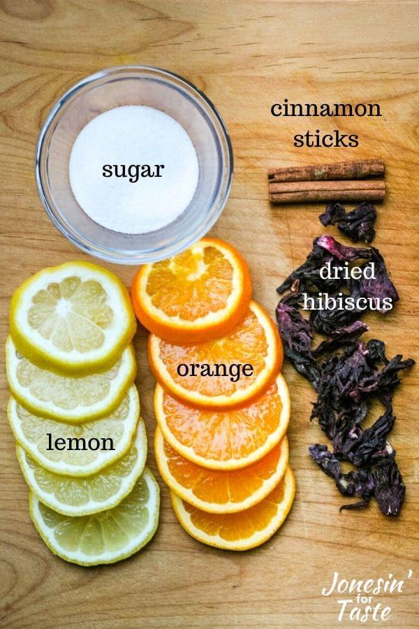 ingredients to make agua de jamaica