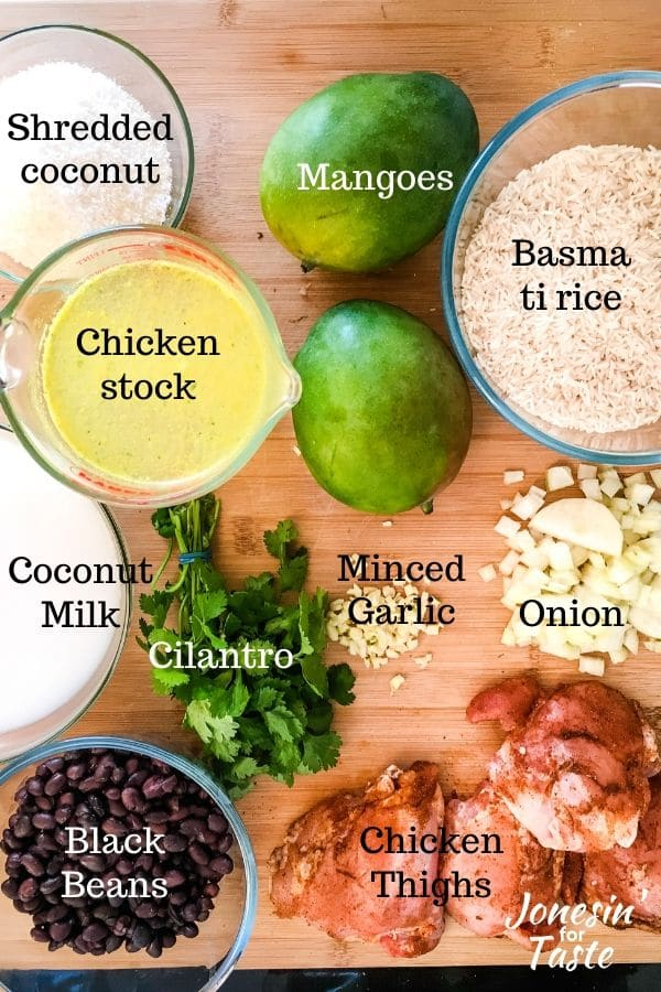 ingredients laid out and labeled on a cutting board