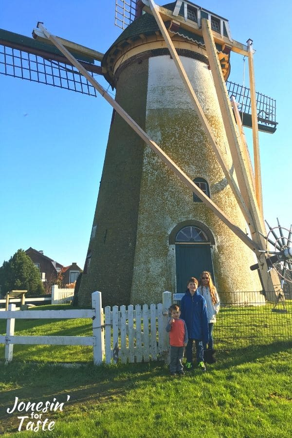 children standing in front of a windmill