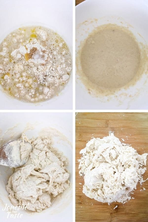 collage showing the first steps to making the dough