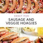 collage of sausages and veggies on a cookie sheet with text graphic in the center