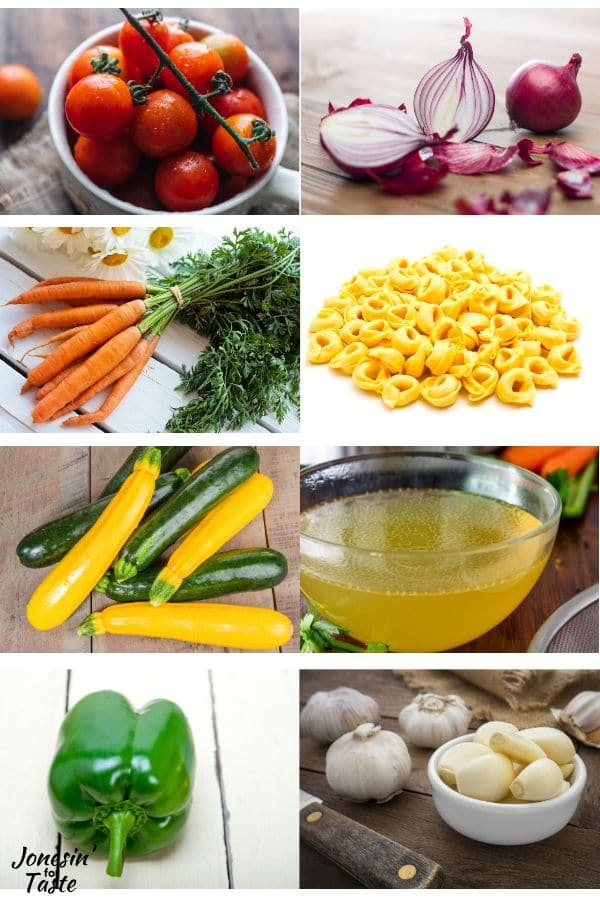 collage of ingredients needed to make the pasta