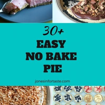 a collage of no bake pies around a text graphic