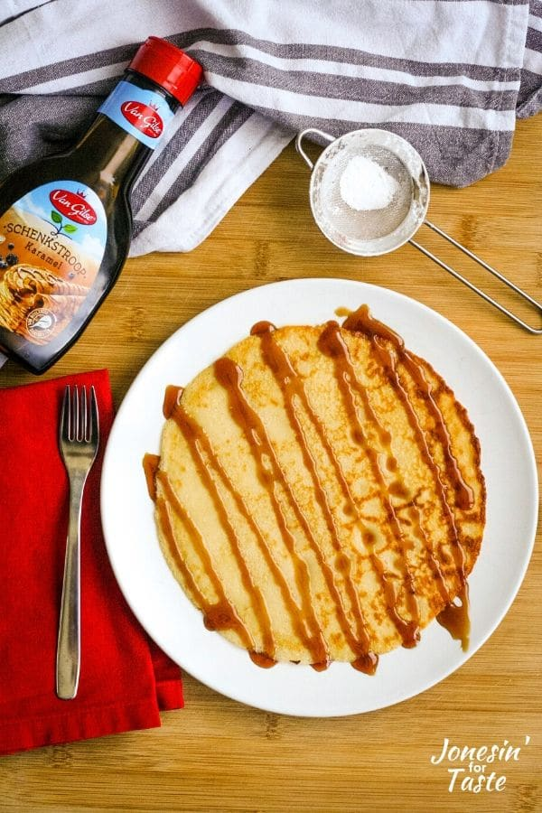 a pannenkoek drizzles with Dutch stroop (syrup)