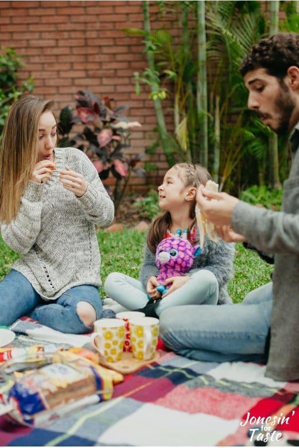 a family having a picnic outside