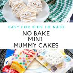 collage of mini mummy cakes and ingredients with text graphic in the center
