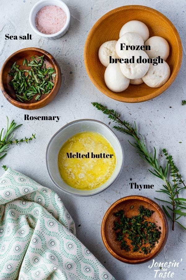 various ingredients laid out on a table in bowls
