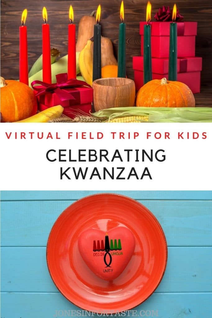 a collage graphic with 2 pictures of Kwanzaa with a text title in the center