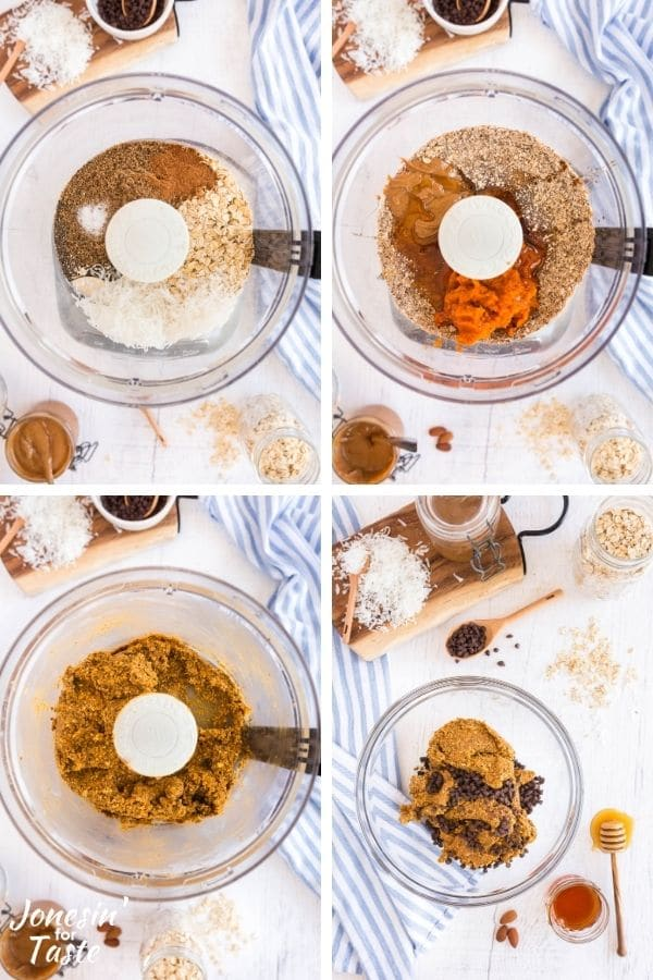 collage showing the steps to make the energy bites