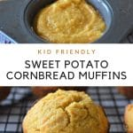 photo collage of sweet potato muffins with text graphic in the middle