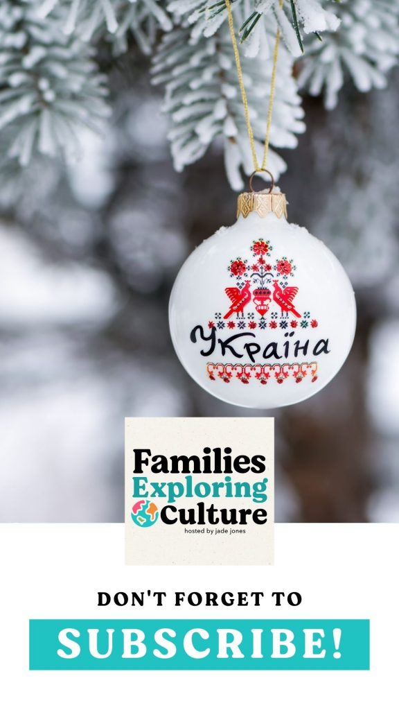 a collage with a photo of a Ukrainian Christmas ornament text graphic at the bottom calling for people to subscribe to the podcast
