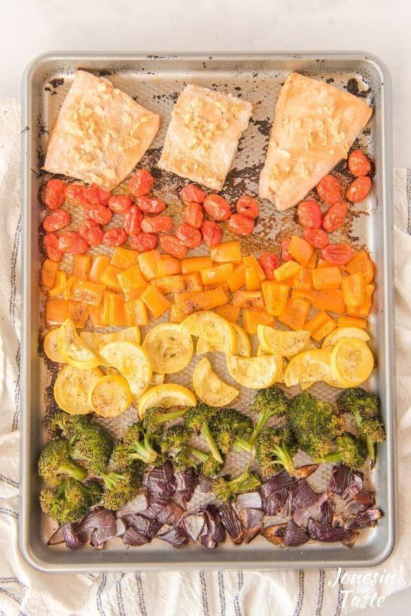 Rainbow Inspired Sheet Pan Salmon and Veggies