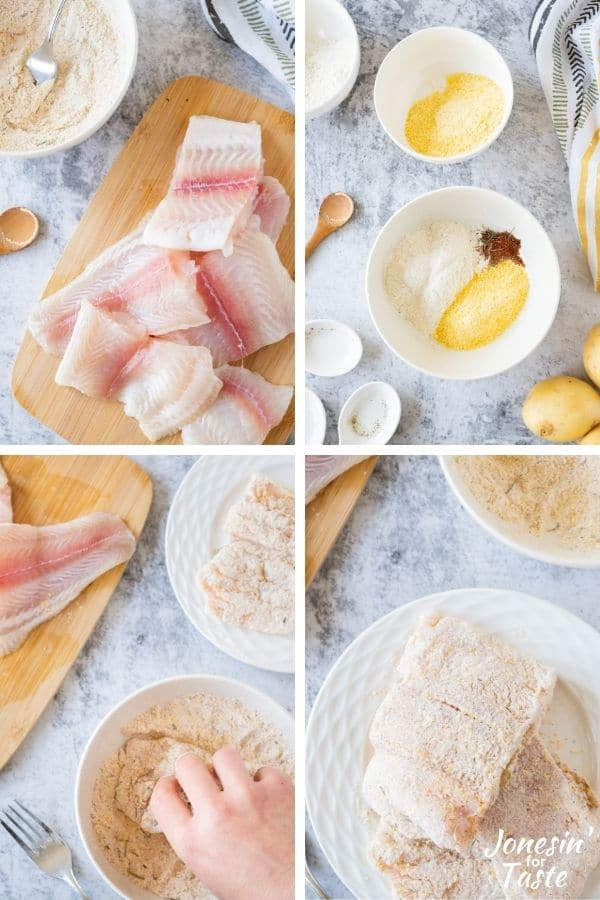 a collage showing the steps to prep the fish
