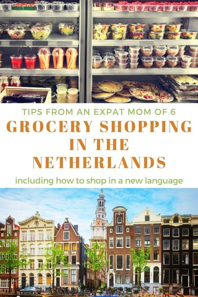 collage graphic of shelves in a grocery store on top and a row of homes in the Netherlands on the bottom, a text graphic is in the center