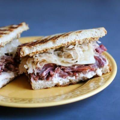 Grilled corned beef and sauerkraut sandwich