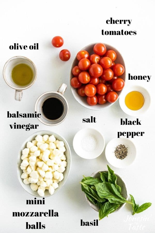 ingredients in bowls and labeled in black on a white background